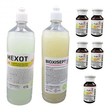 Pachet geluri dezinfectante, pentru maini, Mexot/Bioxisept 1l si 5 Geluri Igienizante Mexot 100ml