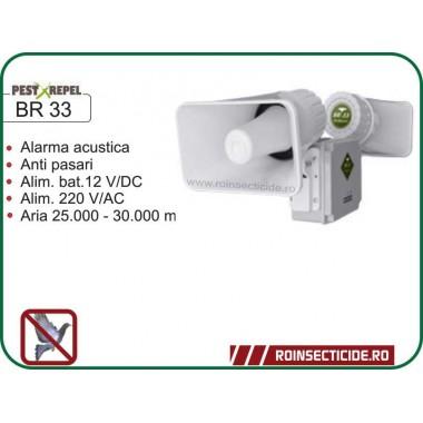 Dispozitiv electronic cu alarma acustica impotriva pasarilor daunatoare BR 33