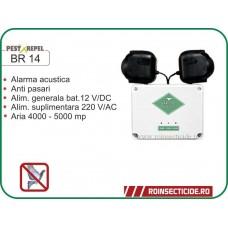 Dispozitiv electronic cu alarma acustica impotriva pasarilor daunatoare BR 14
