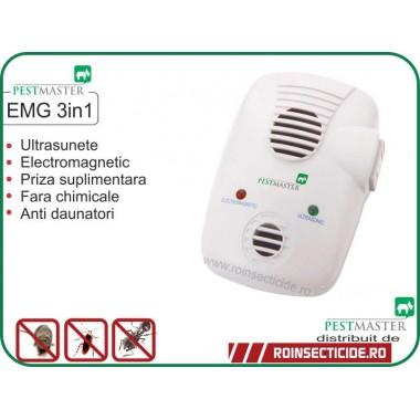 Aparat cu ultrasunete si unde electromagnetice anti furnici, anti gandaci, anti soareci, sobolani, anti paianjeni si alte insecte (200 mp) Pestmaster EMG 3in1