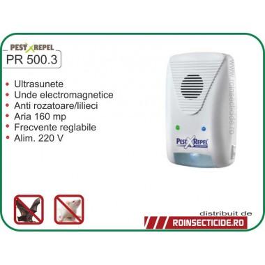 Aparat cu ultrasunete si unde electromagnetice anti-lilieci,anti-rozatoare,anti-gandaci (220mp) - PR 500.3