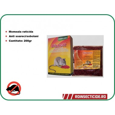 Rodenticid Biokett Pak (200gr.) - Formula Boabe de cereale impregnate
