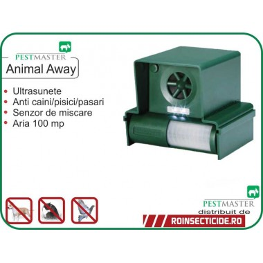 Aparat cu ultrasunete impotriva veveritelor,anti caini,anti animale nedorite (100mp) Pestmaster Animal Away