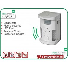 Dispozitiv cu senzor de miscare si alarma acustica antianimale, antipasari si antisalbaticiuni (70 mp) Pestmaster UAF03