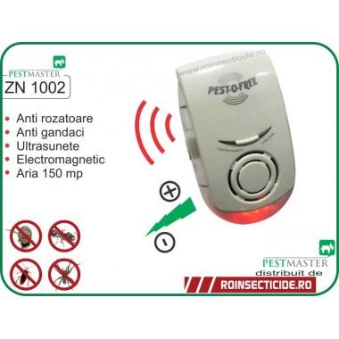Aparat cu ultrasunete si unde electromagnetice impotriva soarecilor, rozatoarelor si insectelor taratoare (150 mp) - Pestmaster ZN1002